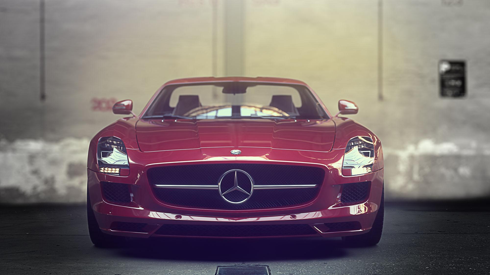 Mercedes rojo-rendering